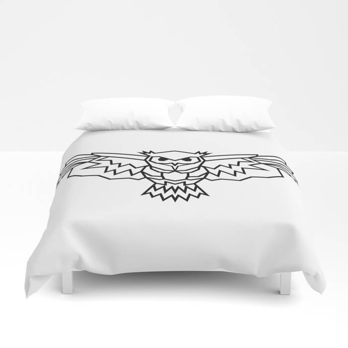geometric-lowpoly-owl-duvet-covers