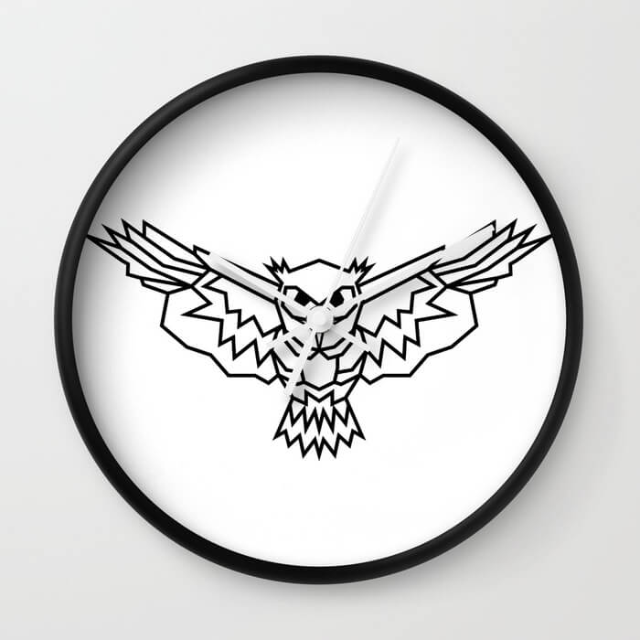 geometric-lowpoly-owl-wall-clocks