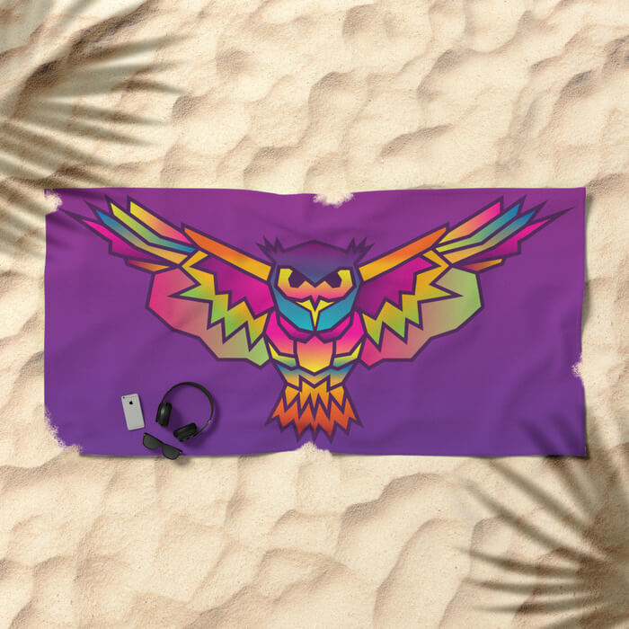 geometric-owl-colored-beach-towels