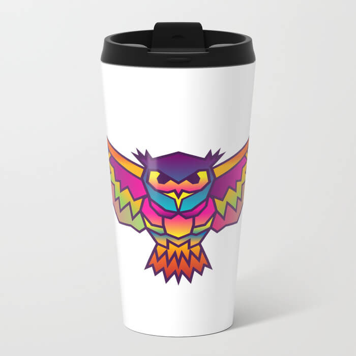 geometric-owl-colored-metal-travel-mugs